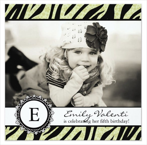 classy zebra photo birthday party invitation