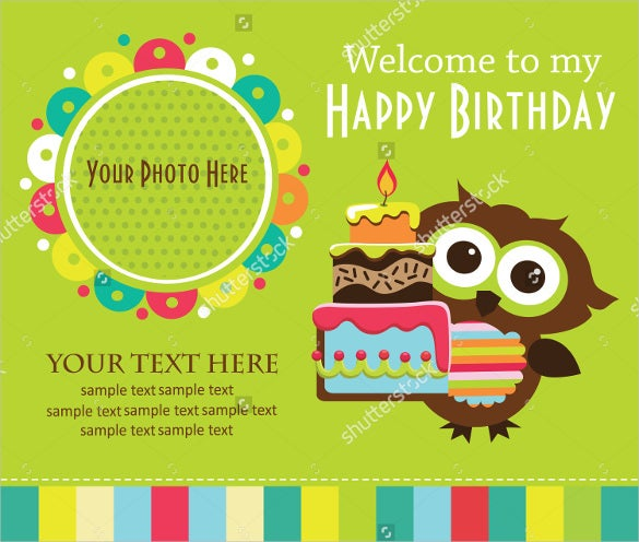 owl kids photo birthday invitation