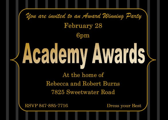 invitation for academy awards invitation
