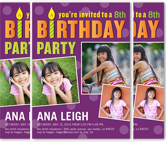 purple matte photo birthday invitation
