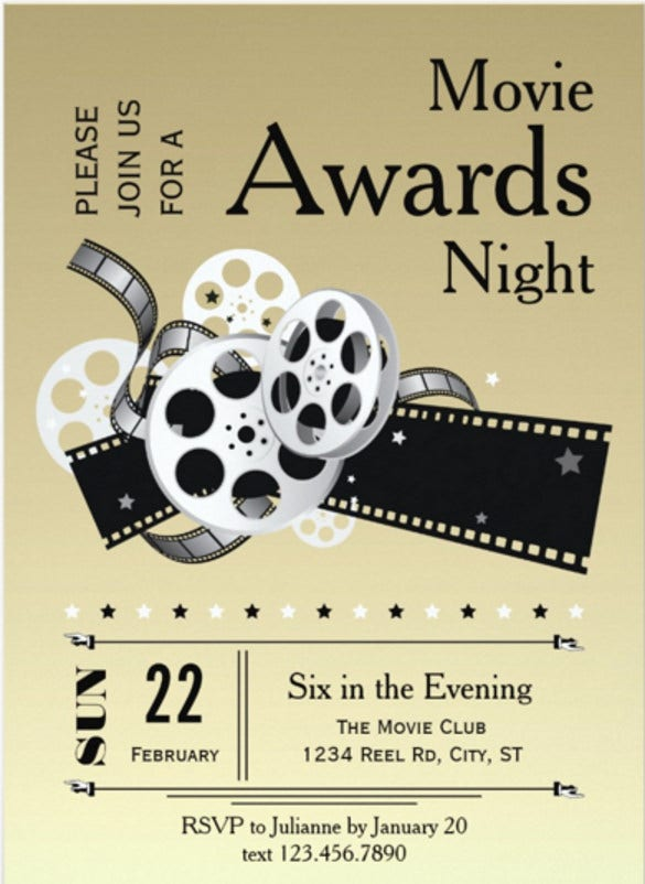 Award invitation template 14 free psd vector eps ai format film reel movie awards party invitation stopboris Image collections