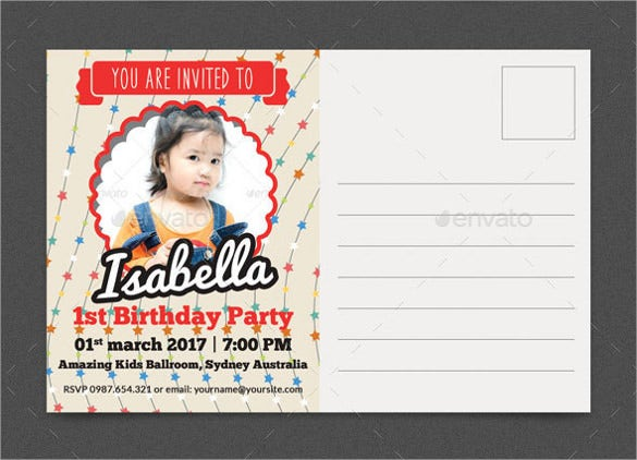 red colour phtoto birthday invitation
