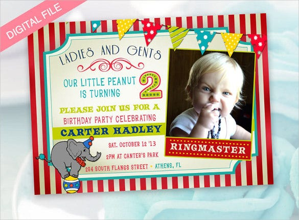 red striped circus theme photo birthday invitation