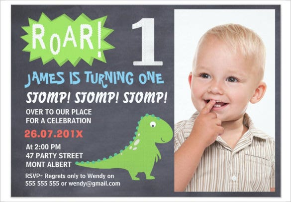 chalkboard style boys dinosaur photo birthday invitation