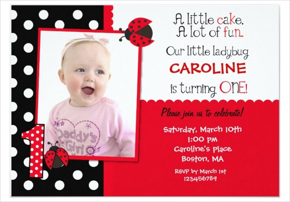 ladybug themed photo birthday invitation