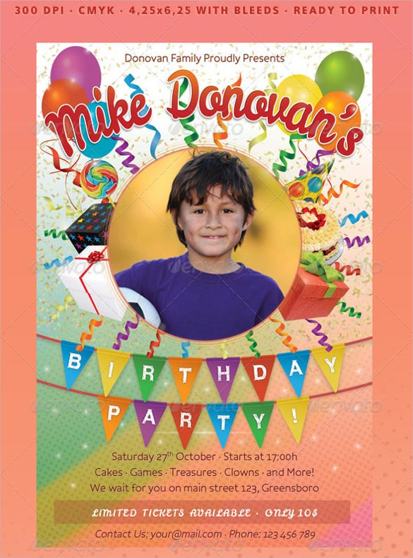 kids photo birthday invitation template
