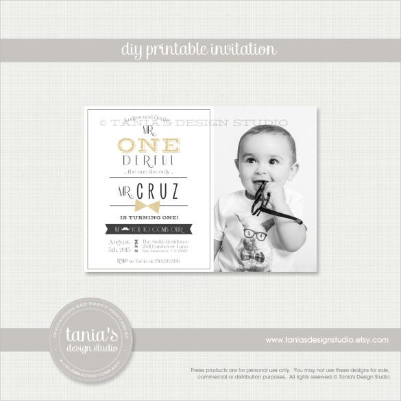 black and white wonderful printable photo birthday invitation