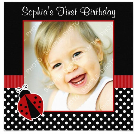 red black ladybug polka dot birthday photo invitation
