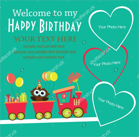 simple and beautiful train photo birthday invitation