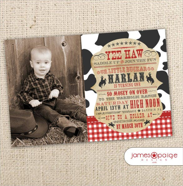 cowboy themed western photo birthday invitation