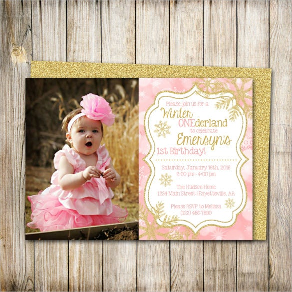 pink and gold photo birthday invitation