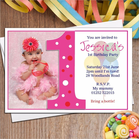 personalised girls birthday party photo invitation