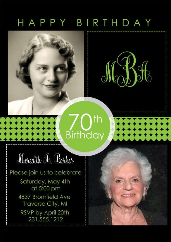 black and olive two photo birthday invitation