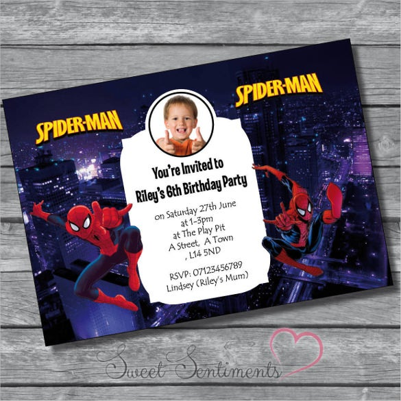 personalised spiderman photo birthday party invitation
