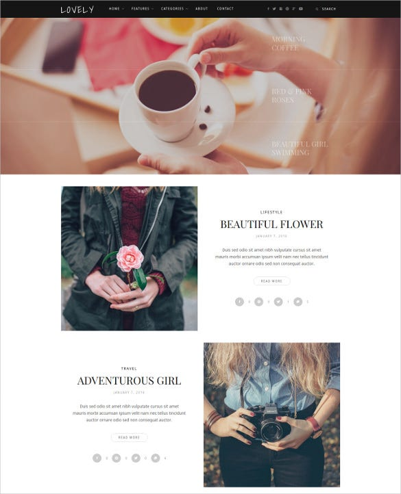 lovely elegant simple blog wordpress theme