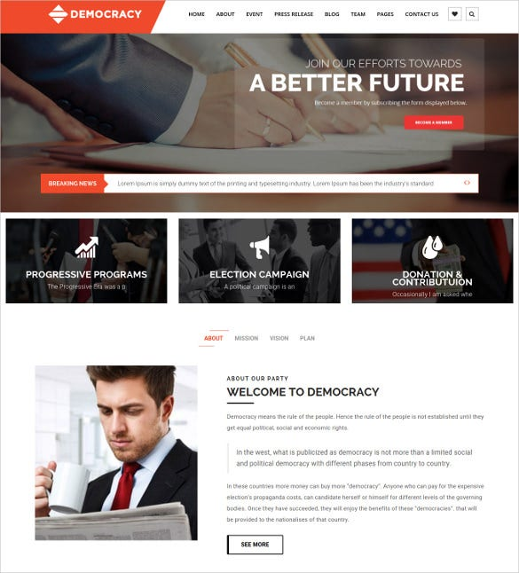 democracy political lawyer wordpress theme