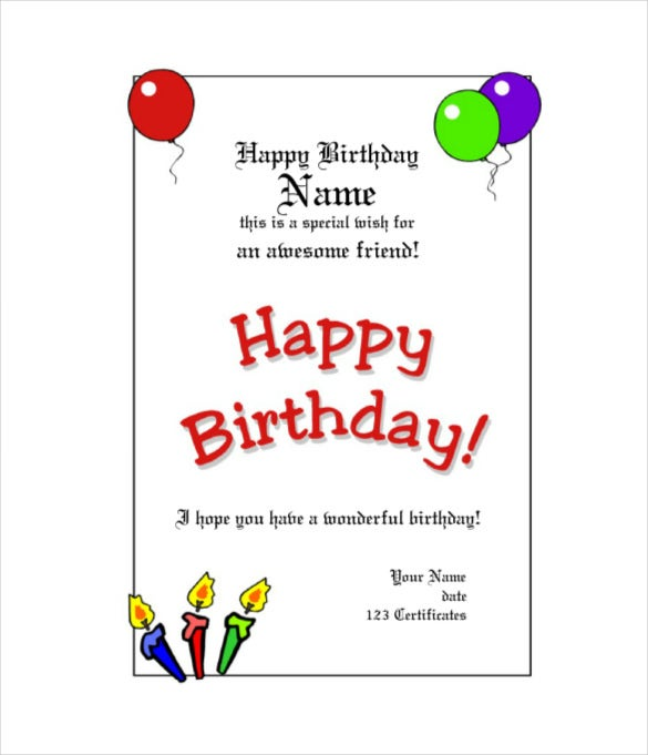 sample birthday gift certificate template with balloons