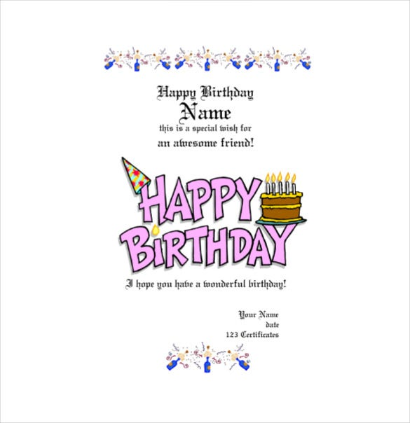 Birthday Gift Certificate Template PDF Free Download