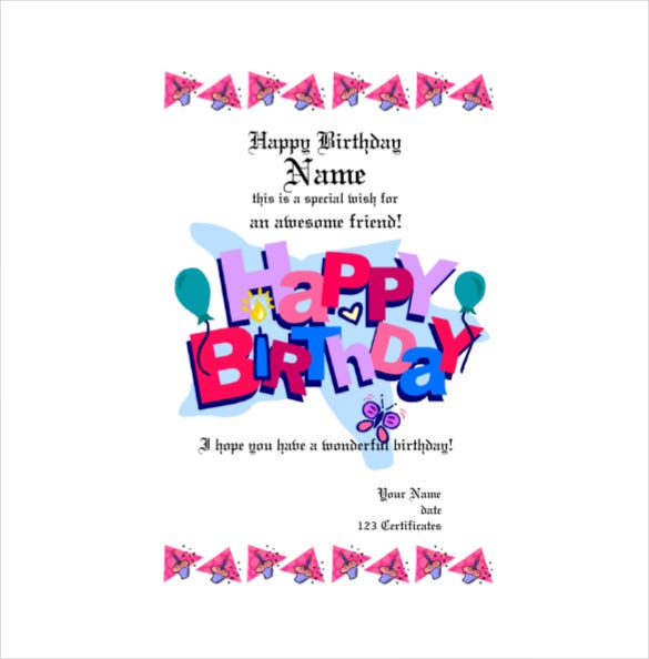 Pink Colour Birthday Gift Certificate PDF Free Download