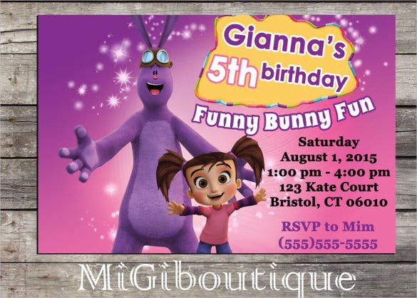 printable cartoon personalized birthday invitation