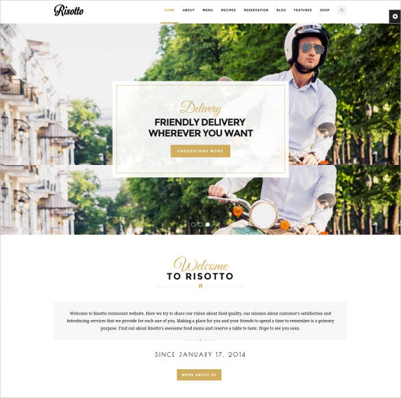 risotto wordpress restaurant cafe theme