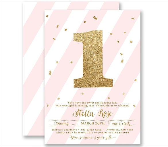 Girls Blush Pink Striped Gold Glitter Personalized Birthday Invitation