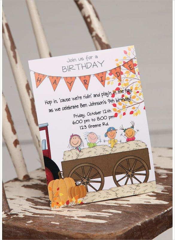 printable hayride digital personalized birthday invitation