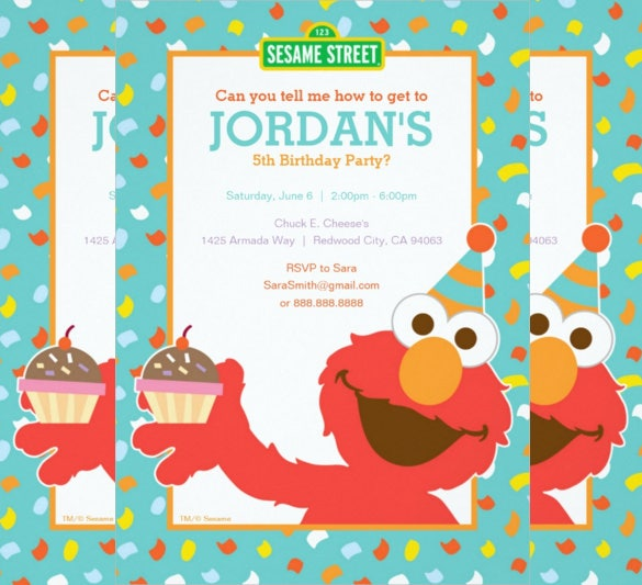 elmo personalized paper birthday invitation card