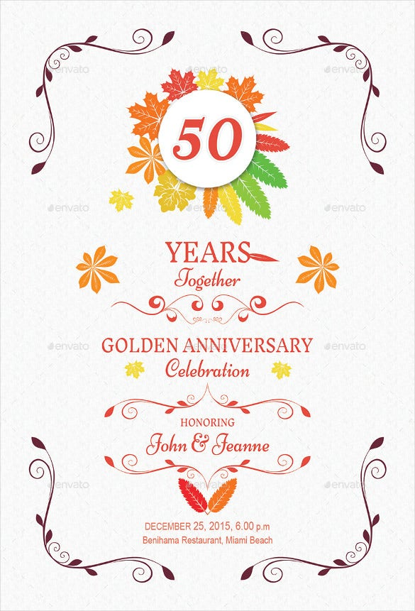 Anniversary Invitation Templates Free PSD Vector EPS AI - Wedding invitation templates: golden wedding anniversary invitations templates