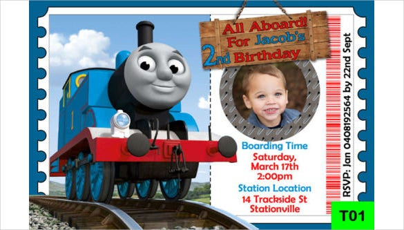 personalized thomas the tank engine birthday party invitation