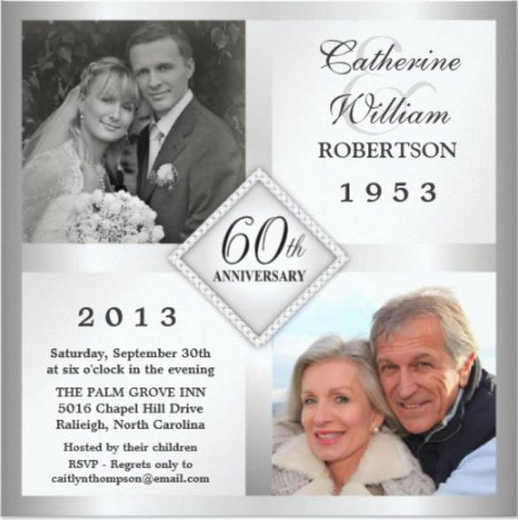 60th silver diamond anniversary photo invitations