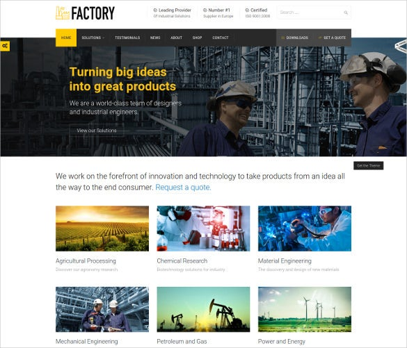 factory industrial business wordpress theme