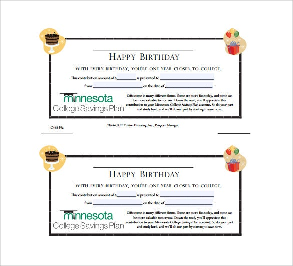 Birthday Gift Certificate Free PDF Template Download