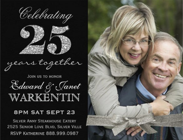 elegant photo silver 25th wedding anniversary invitation card