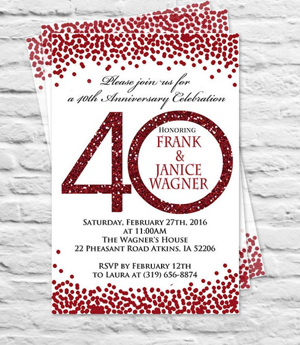 printable birthday or wedding anniversary party invitation