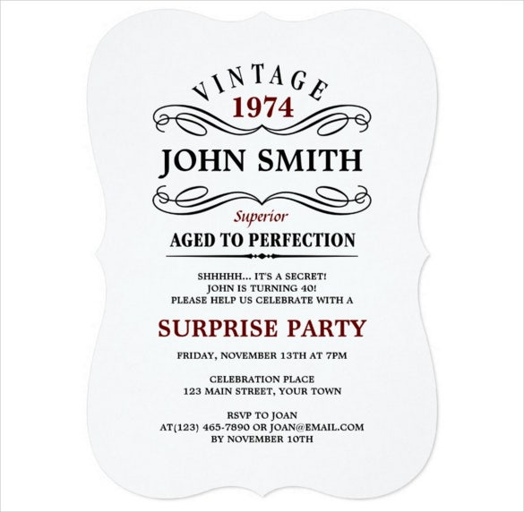 vintage funny personalized birthday invitation