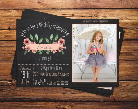 chalk board floral style personalised birthday invitation for girls
