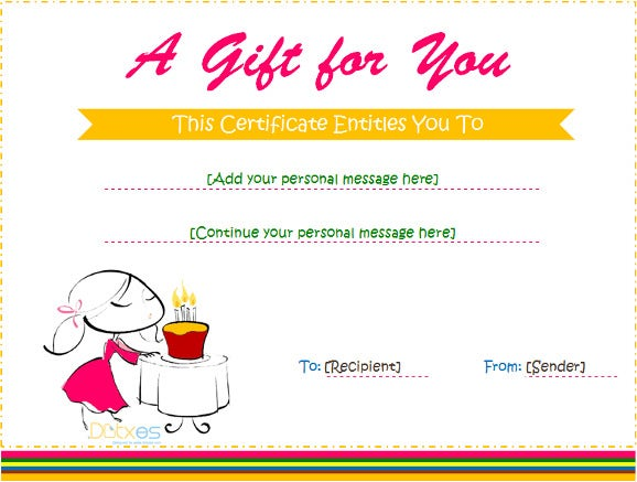 birthday gift certificate for girl download