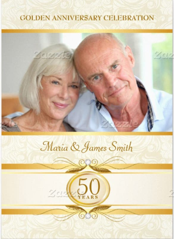 gold ivory damask 50th anniversary invitations