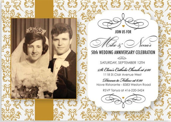 50th wedding anniversary invitation gold demask