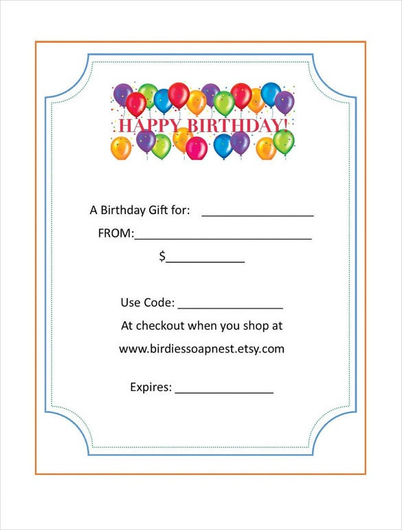 Cute Birthday Gift Certificate Sample Template Download