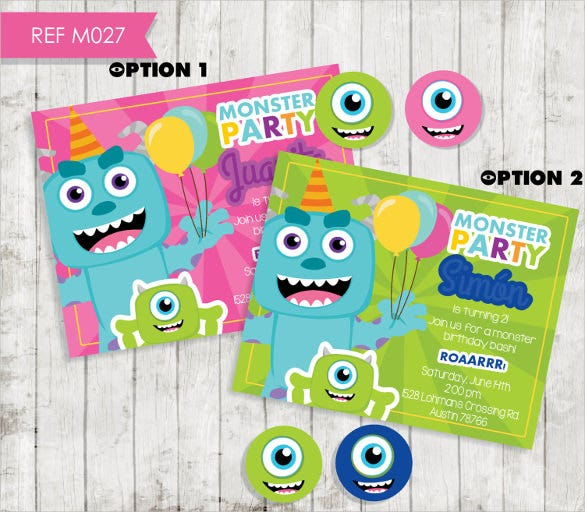 monsters custom digital personalized birthday invitation