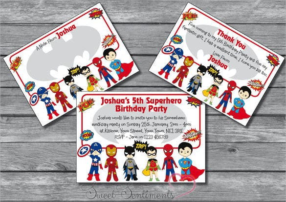 superhero kids personalised birthday party invitation