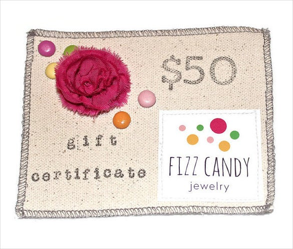 Jewelry Birthday Gift Certificate Template Download