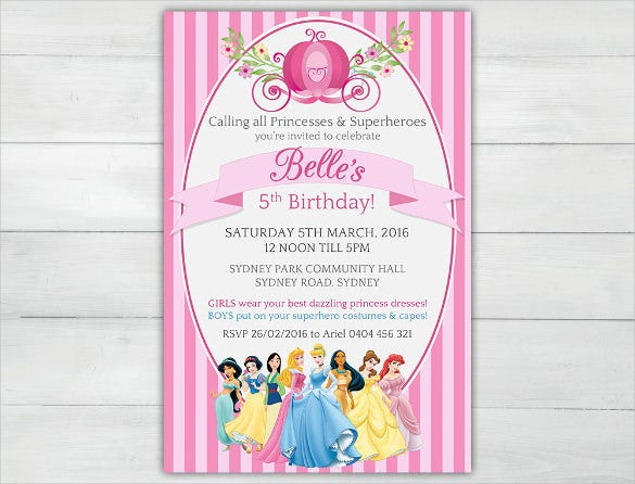 pink disney princesses girls personalised birthday invitation