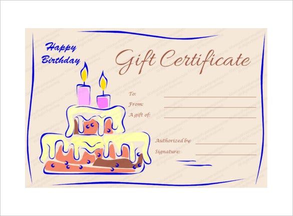 Candles And Cake Birthday Gift Certificate Template Download