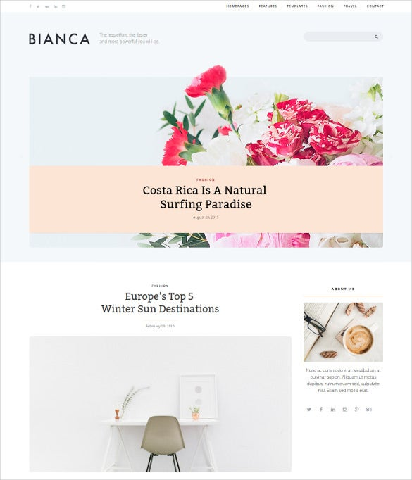 bianca clean blog wordpress theme
