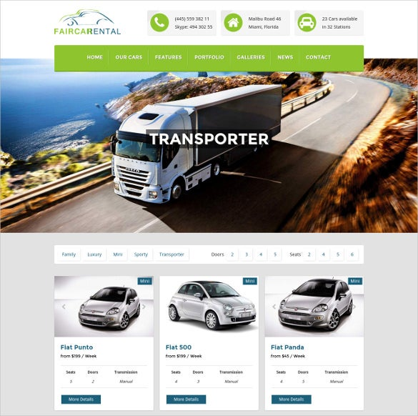 faircar wordpress car rental theme