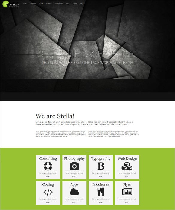 stella one page wordpress theme
