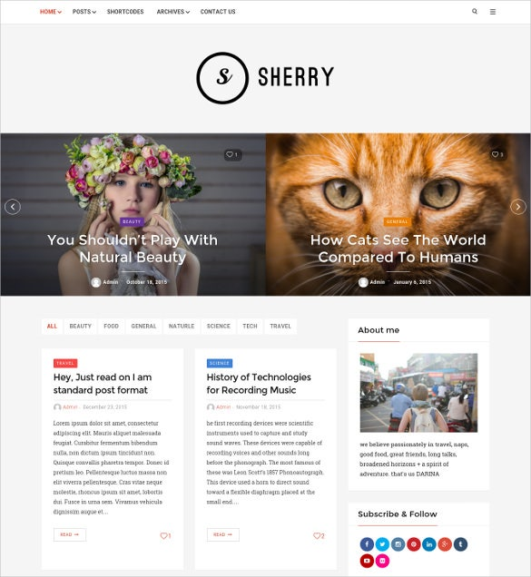 sherry elegant blog theme